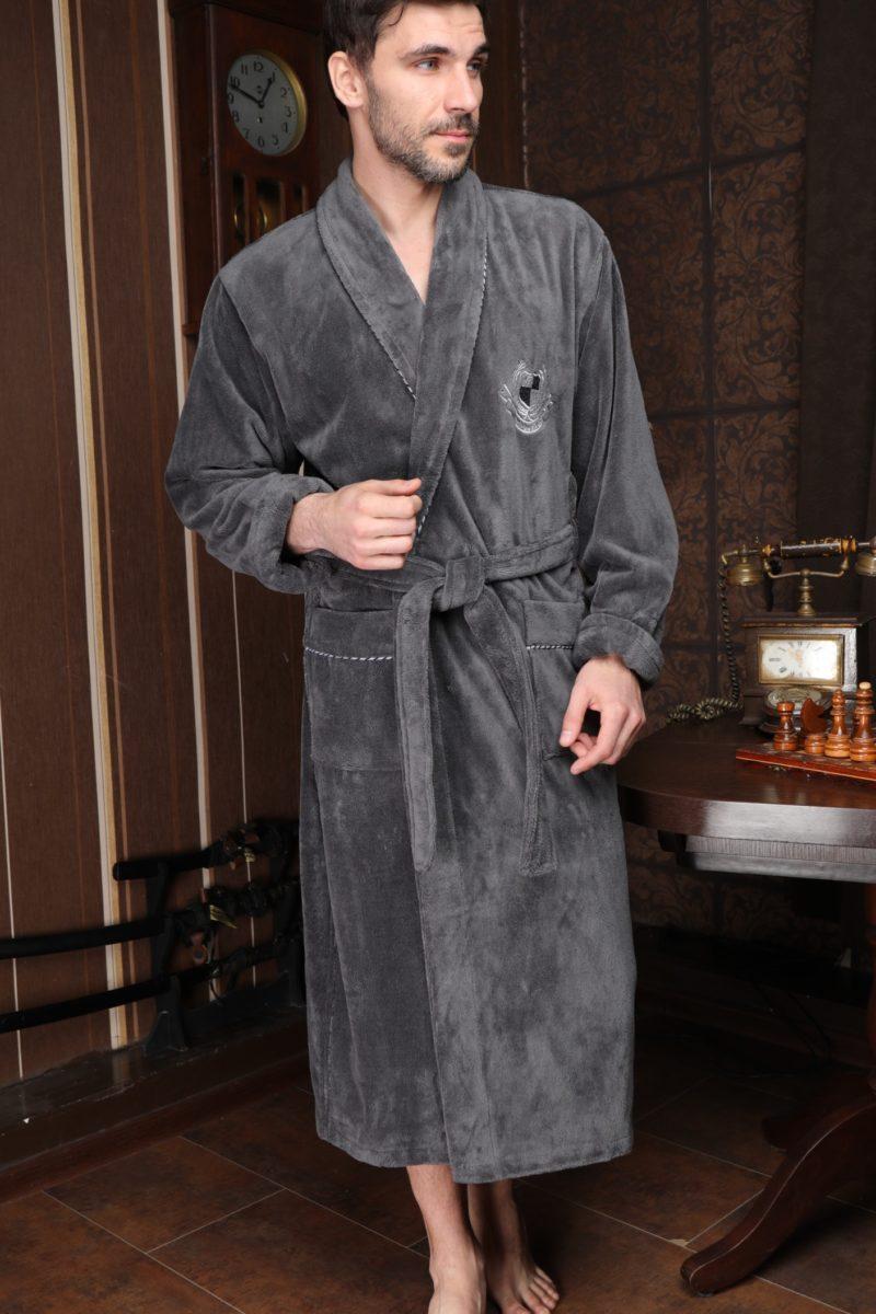 Cardinal (Антрацит) классический мужской халат из бамбука