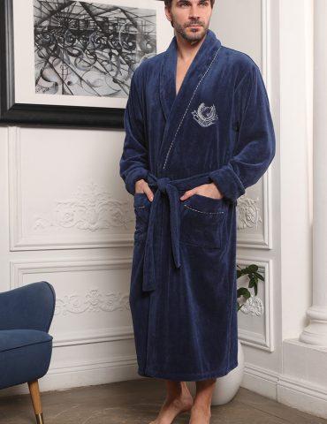 Cardinal (Джинс) классический мужской халат из бамбука