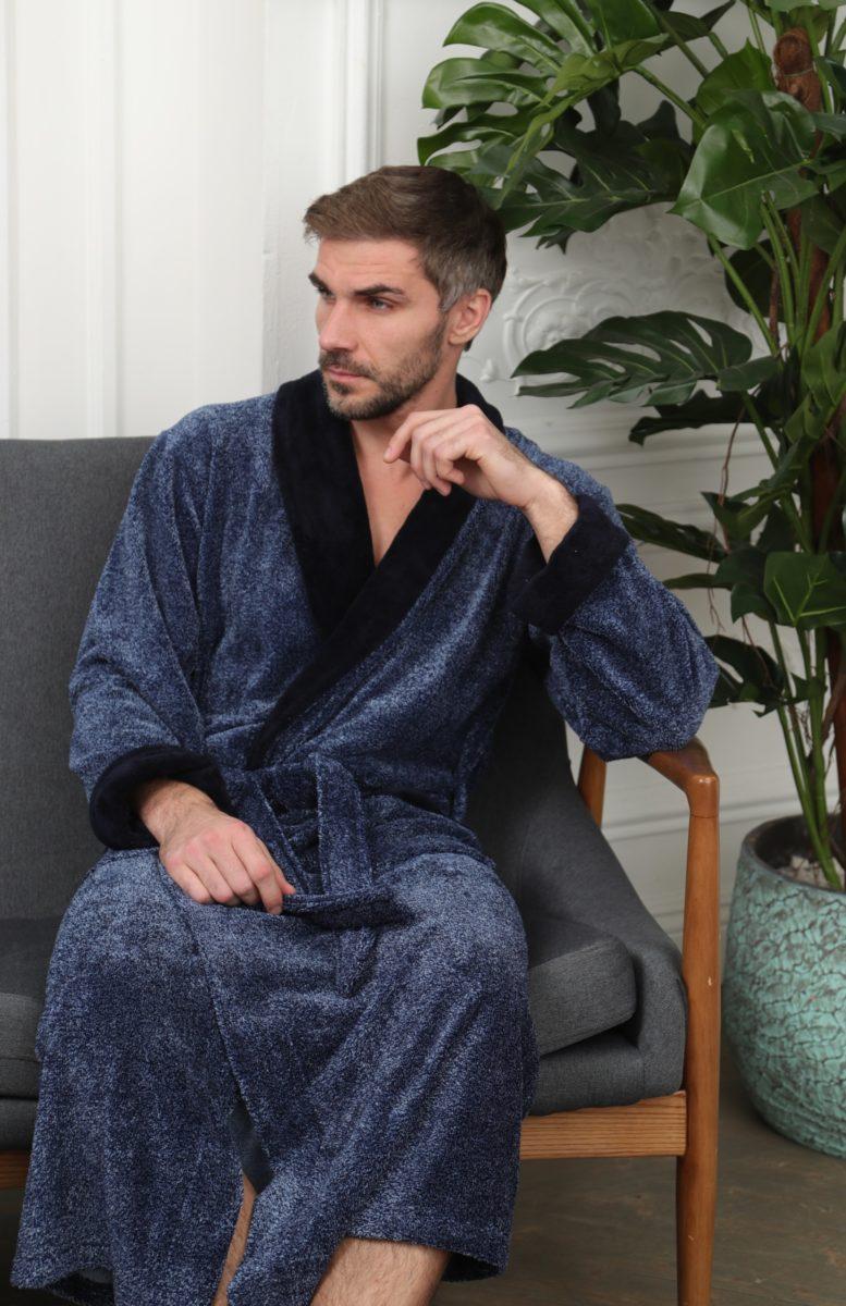 Cezar (синий) классический мужской халат