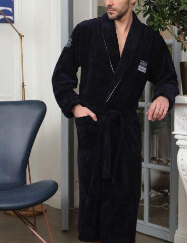 Continental (синий) классический мужской халат из бамбука