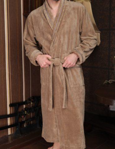 Daniel (бежевый) классический бамбуковый халат