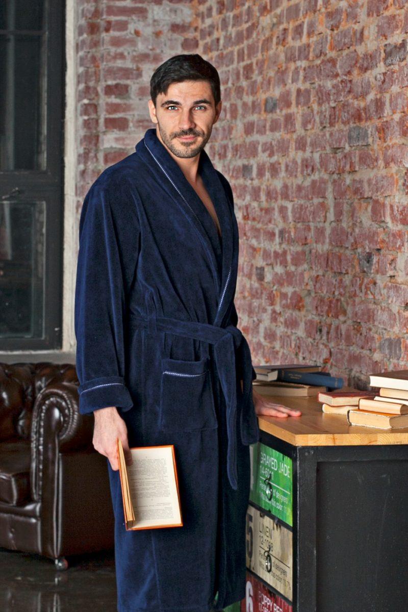 Daniel (синий) классический бамбуковый халат