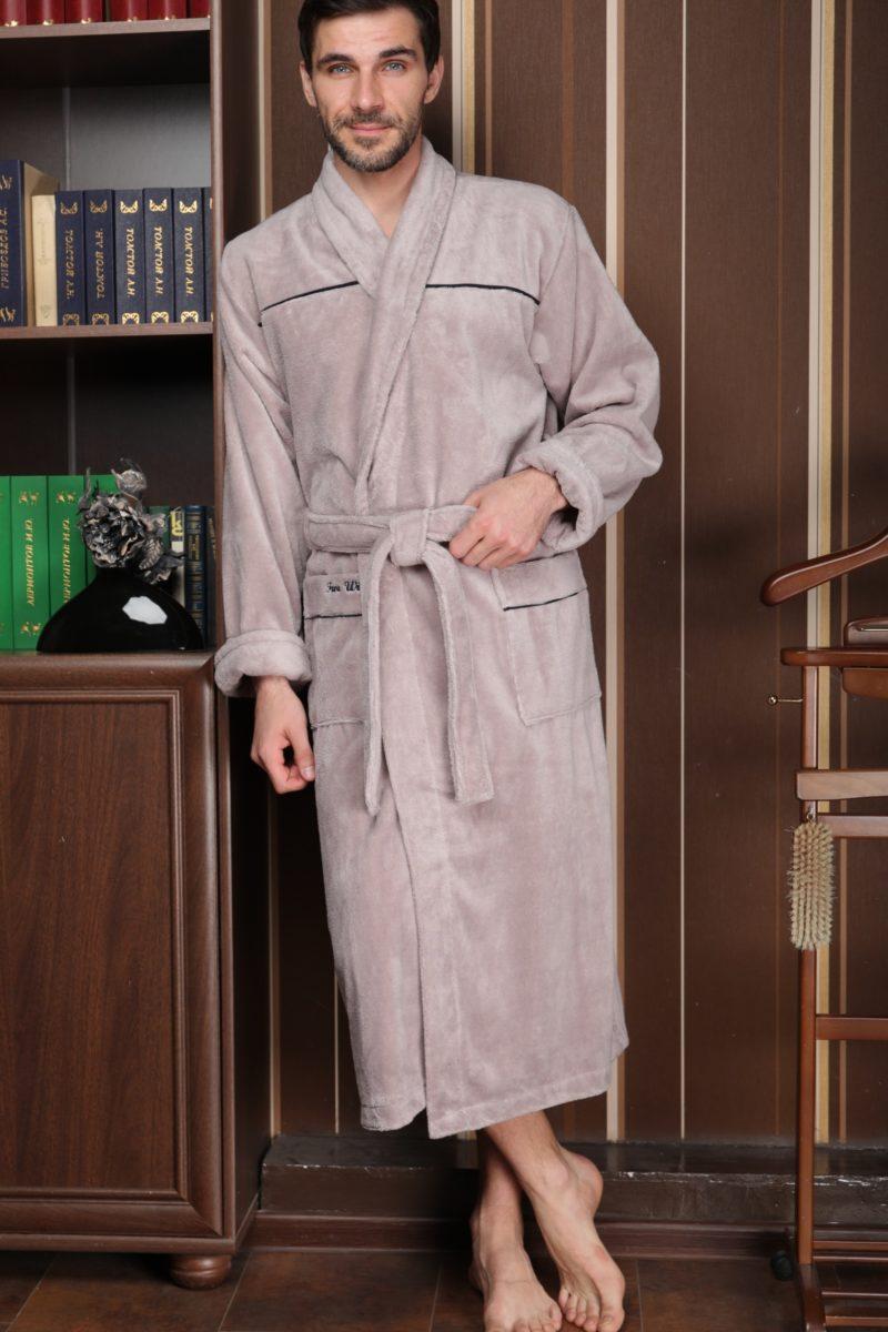 DOLCE (бежевый) классический мужской халат