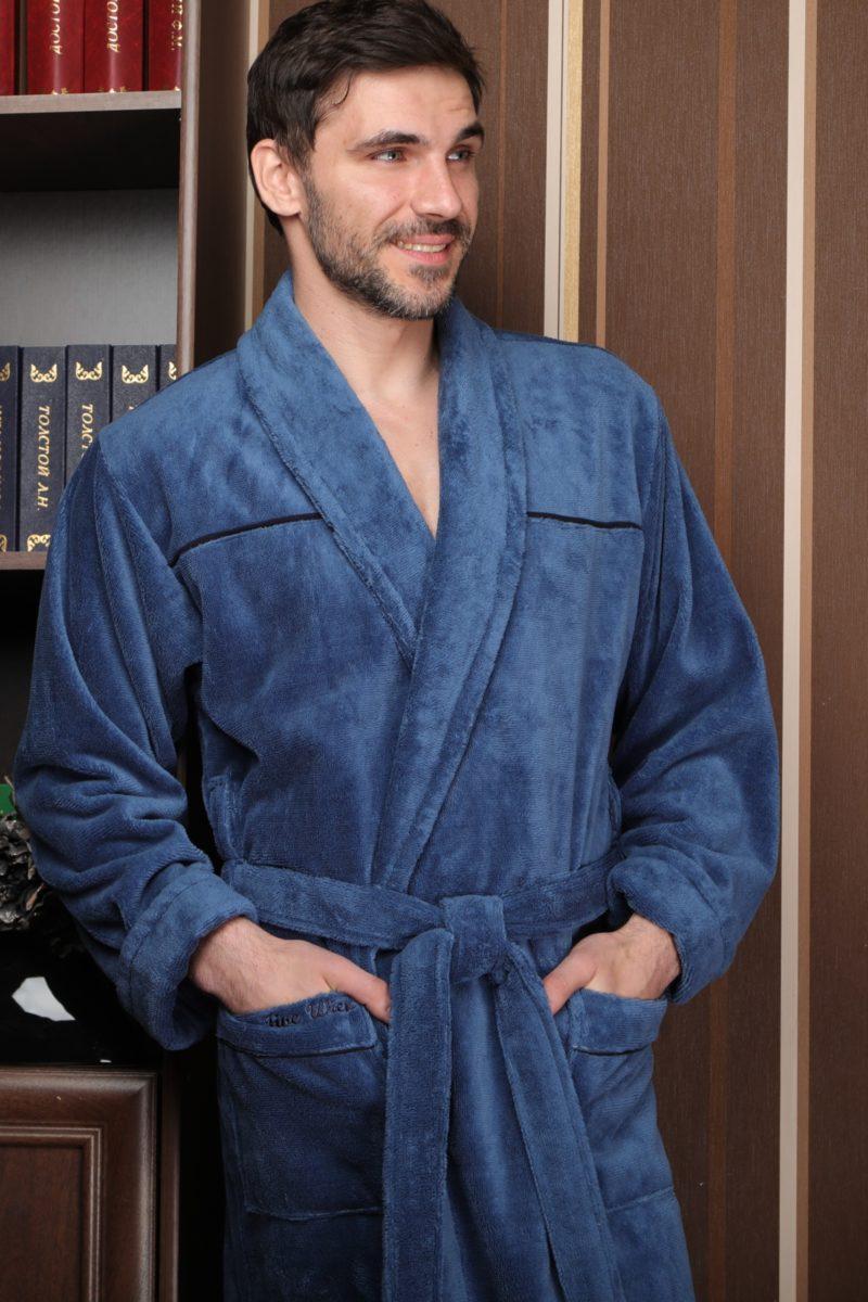 DOLCE (петрол) классический мужской халат