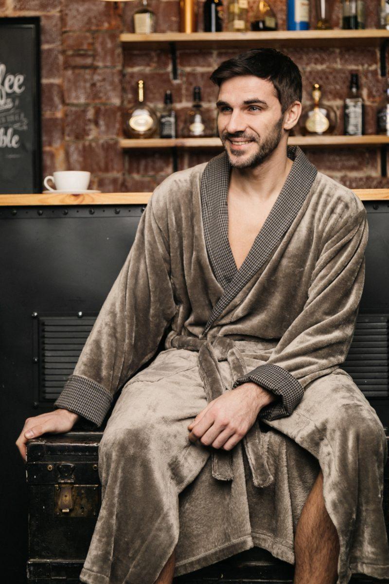 Manhattan (Дымчатый) классический мужской халат