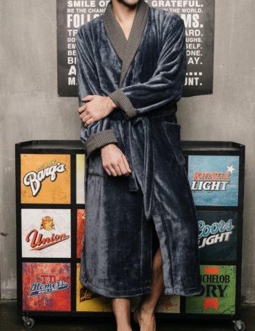 Manhattan (Джинсовый) классический мужской халат