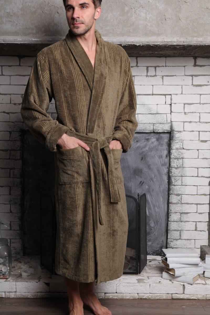 Valentino (хаки) классический мужской халат из бамбука