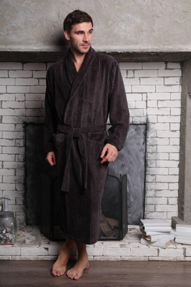 Valentino (мокко) классический мужской халат из бамбука