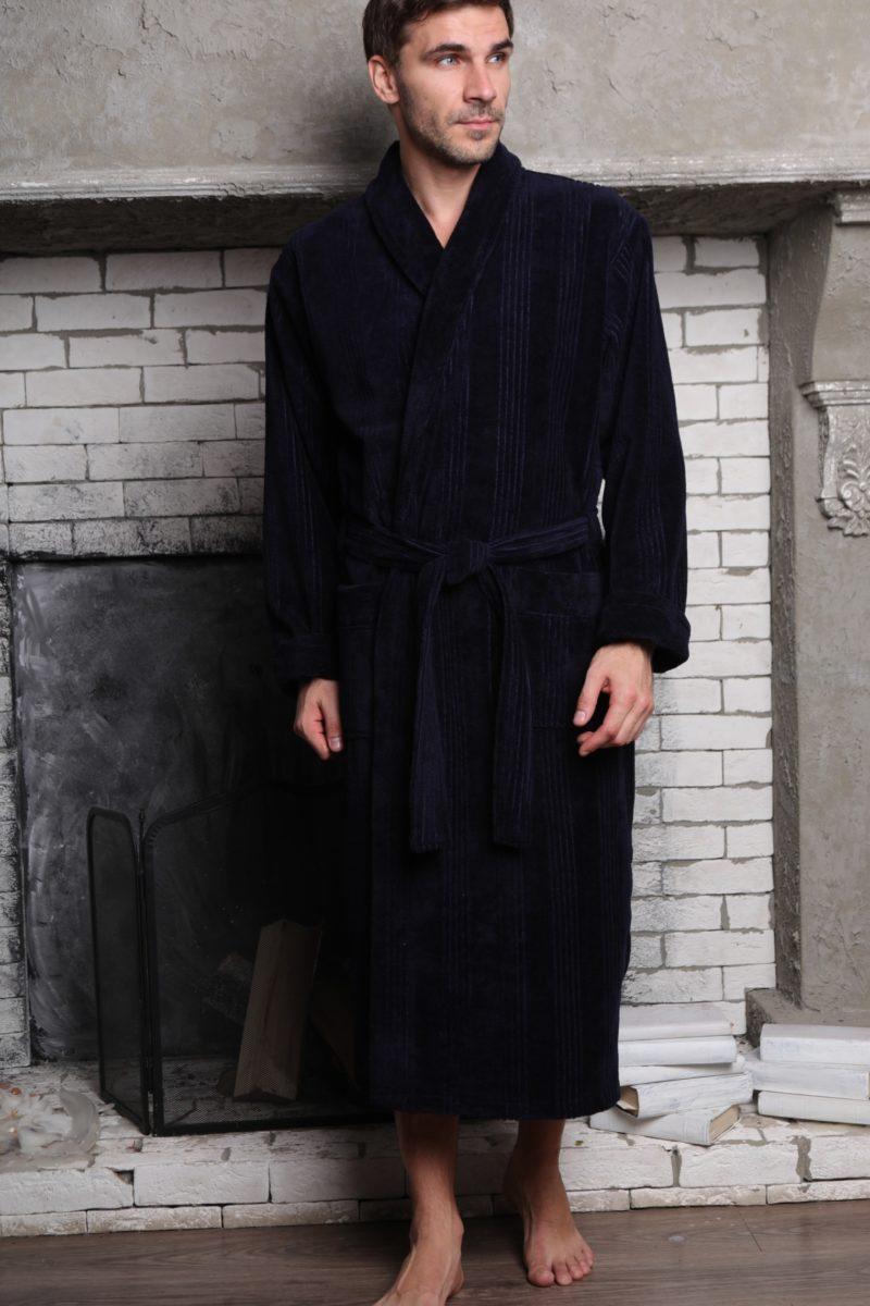 Valentino (синий) классический мужской халат из бамбука