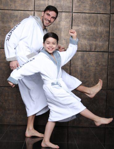 Athletic Junior (белый) подростковый бамбуковый халат