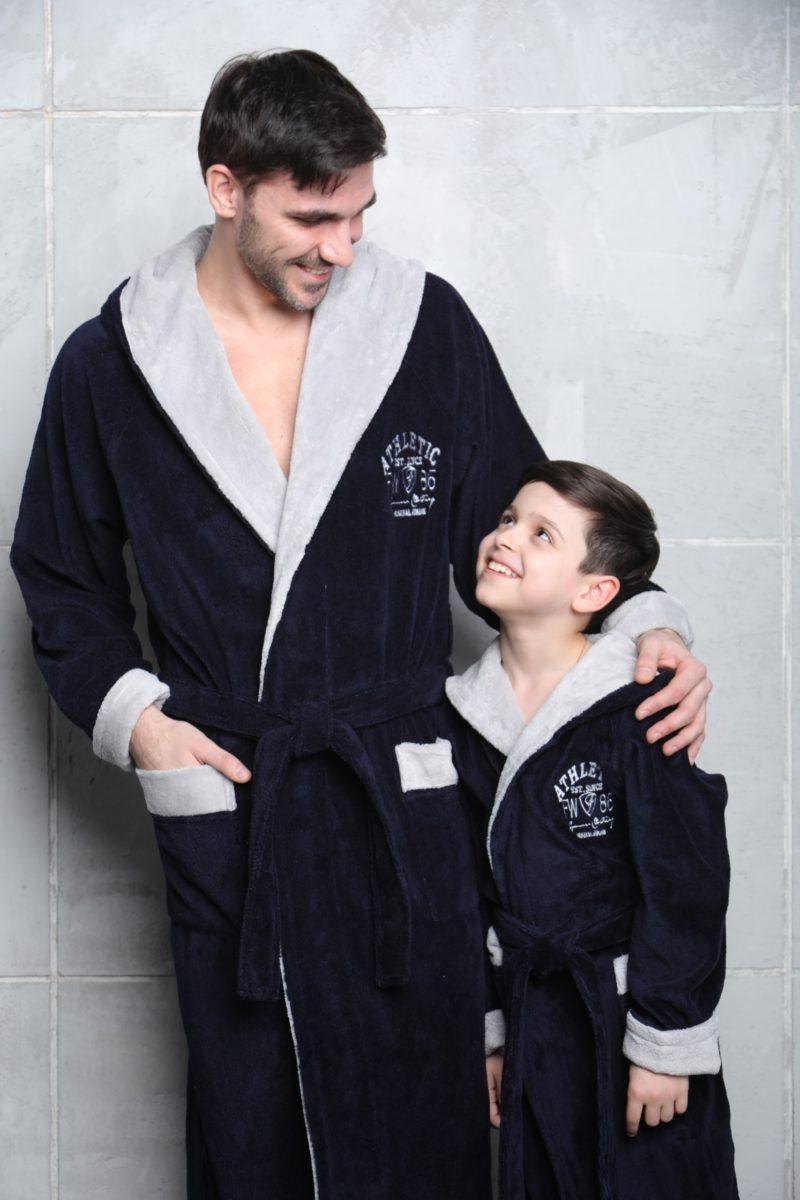 Athletic Junior (синий) подростковый бамбуковый халат