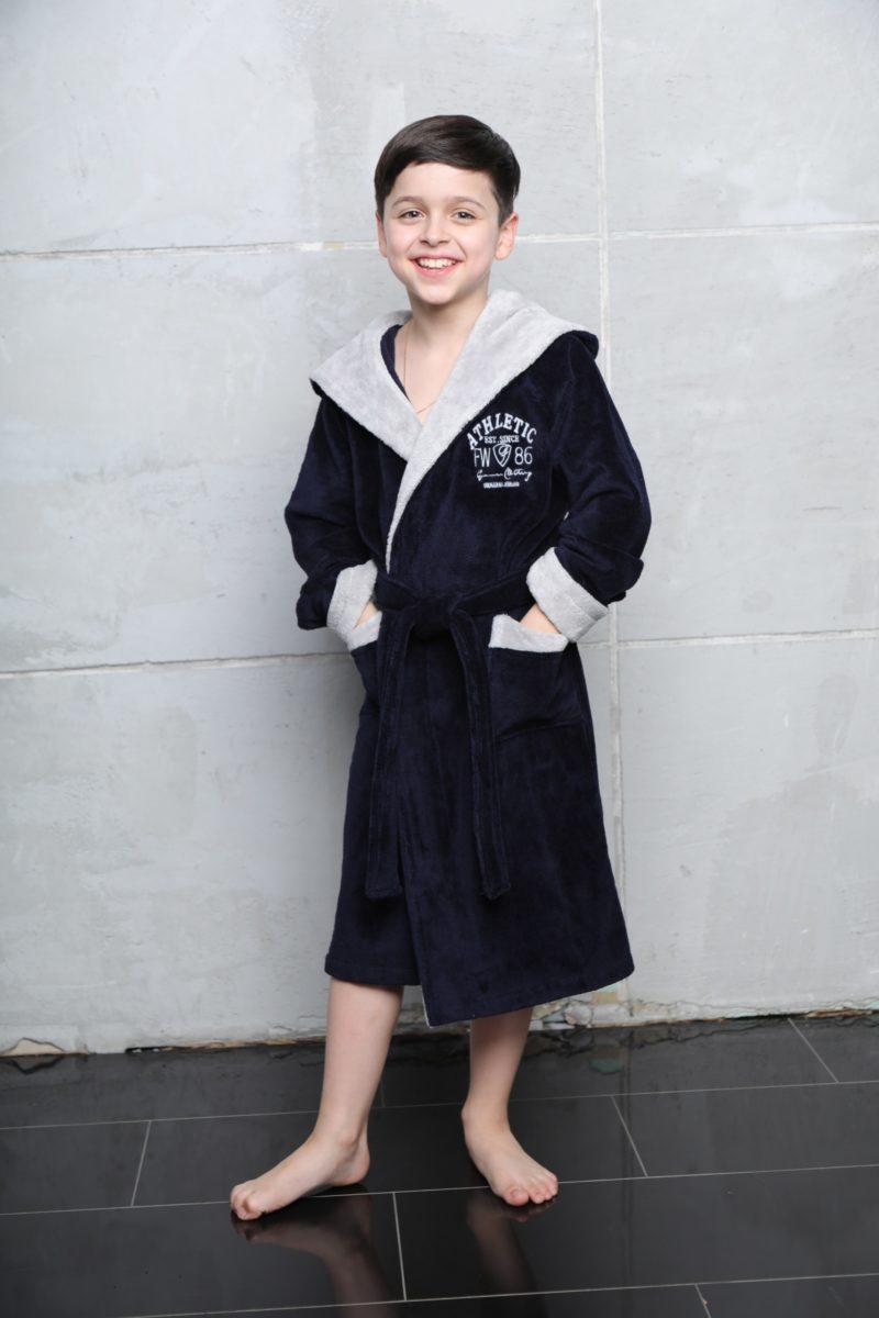 Athletic Junior (navy) подростковый бамбуковый халат