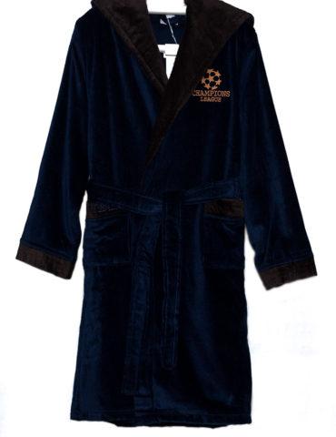 Детский бамбуковый халат Boys (синий-темно-коричневый)
