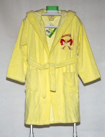 Детский махровый халат Buteerfly (желтый)