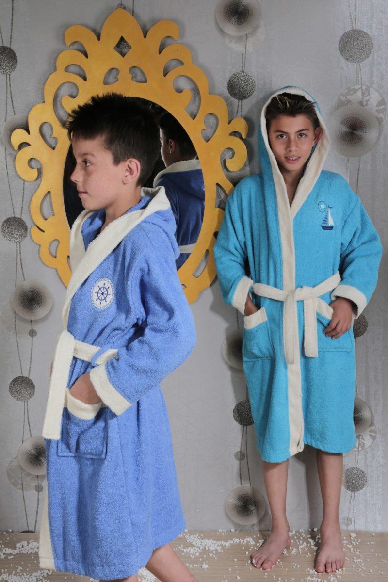 Детский махровый халат с капюшоном 6578