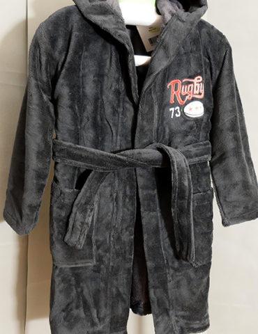 Детский махровый халат с капюшоном REGBI (графит)