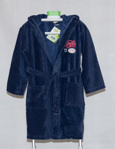 Детский махровый халат с капюшоном REGBI (джинс)
