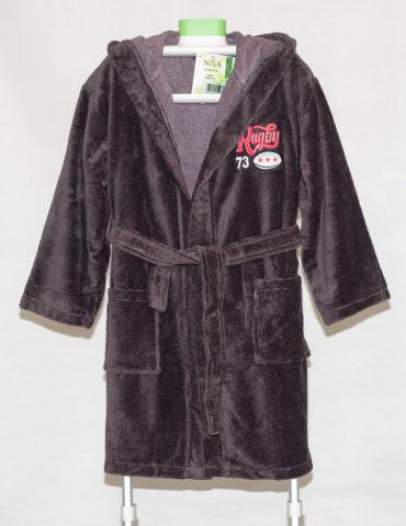 Детский махровый халат с капюшоном REGBI (коричневый)