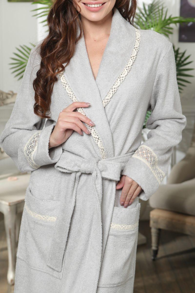 Grazia (серебро) женский бамбуковый халат