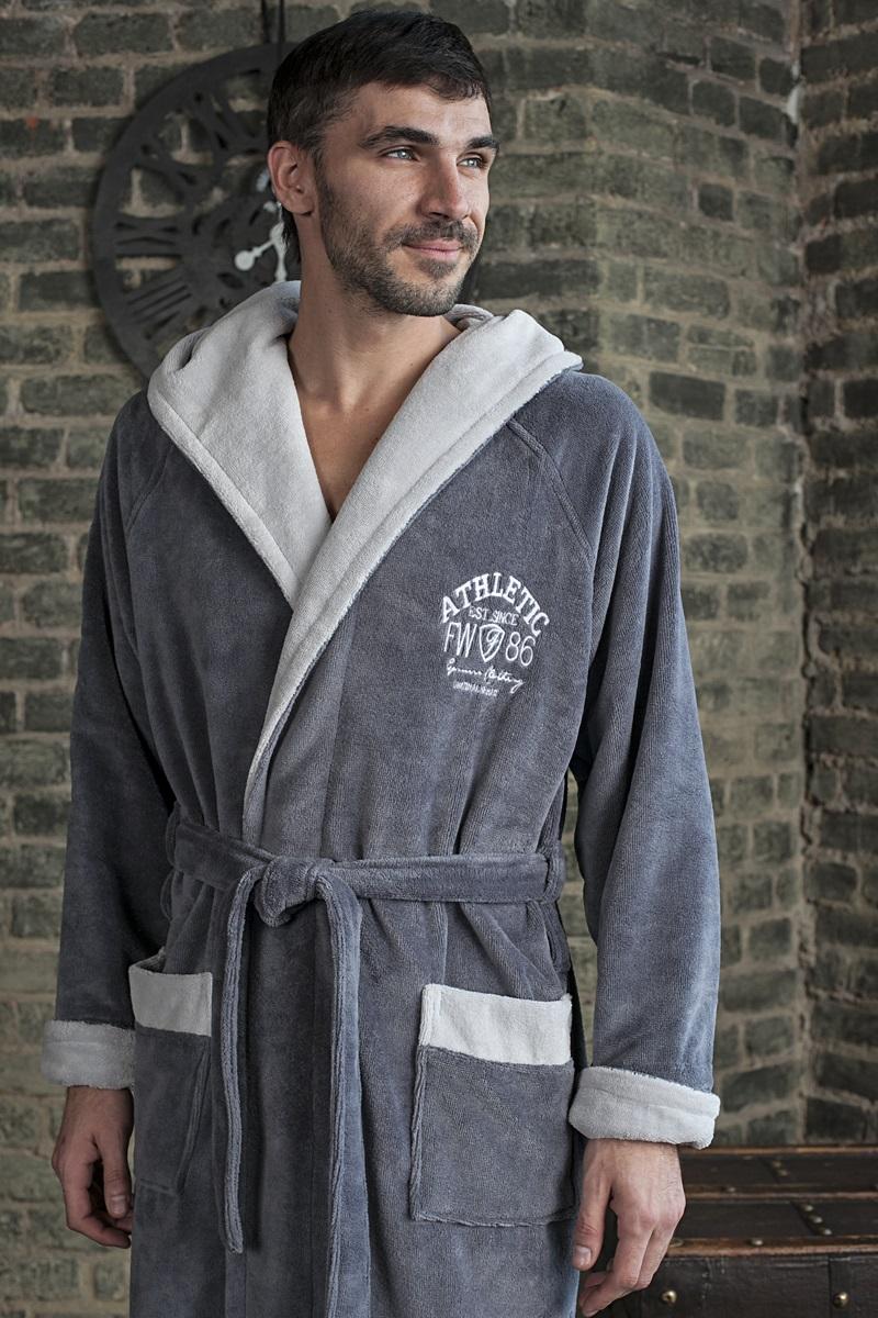 Халат ATHLETIC (серый) спортивный мужской махровый халат с капюшоном