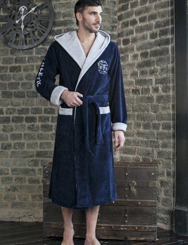 Халат ATHLETIC (синий) спортивный мужской махровый халат с капюшоном