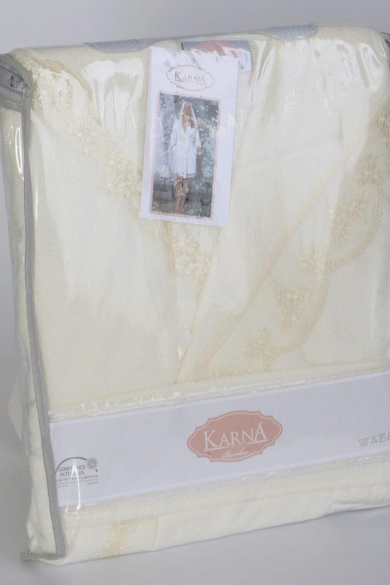Халат махровый женский с капюшоном 2633K кремовый