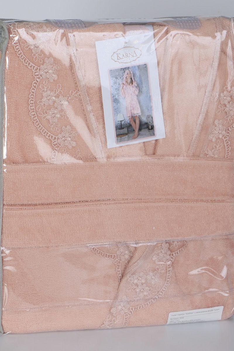 Халат махровый женский с капюшоном 2634K пудра
