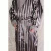 Халат мужской атласный на махровой подкладке (серый)