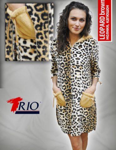 Халат женский на молнии с капюшоном Leopard
