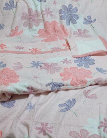 Махровая простынь - FLOWER 180х220 см (розовый)