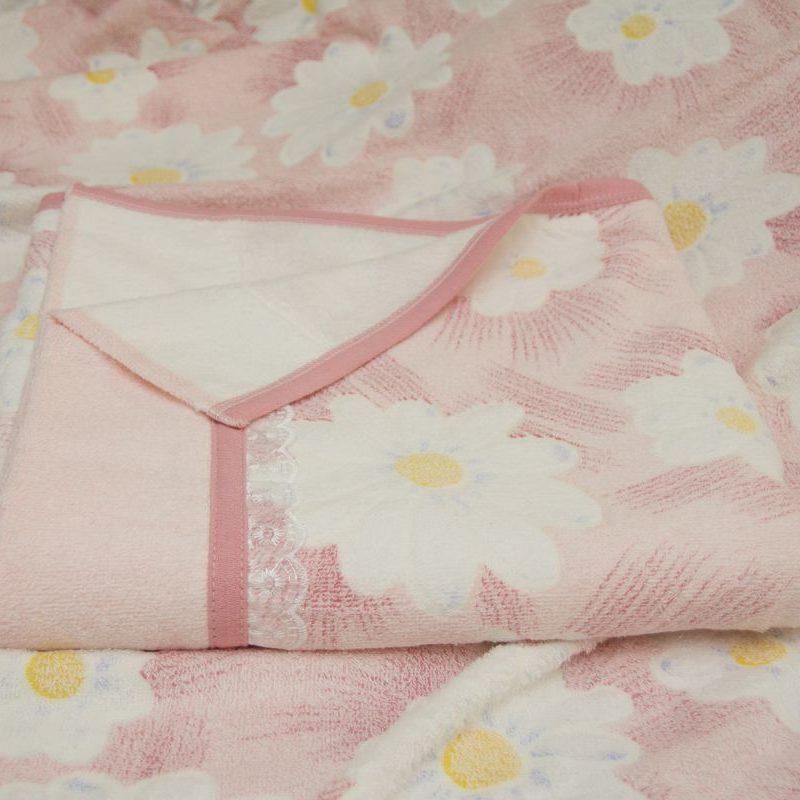 Махровая простынь - Ромашка 180х220 см (розовый)