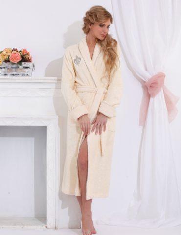 Шикарный бамбуковый халат Queen (нежно-кремовый)