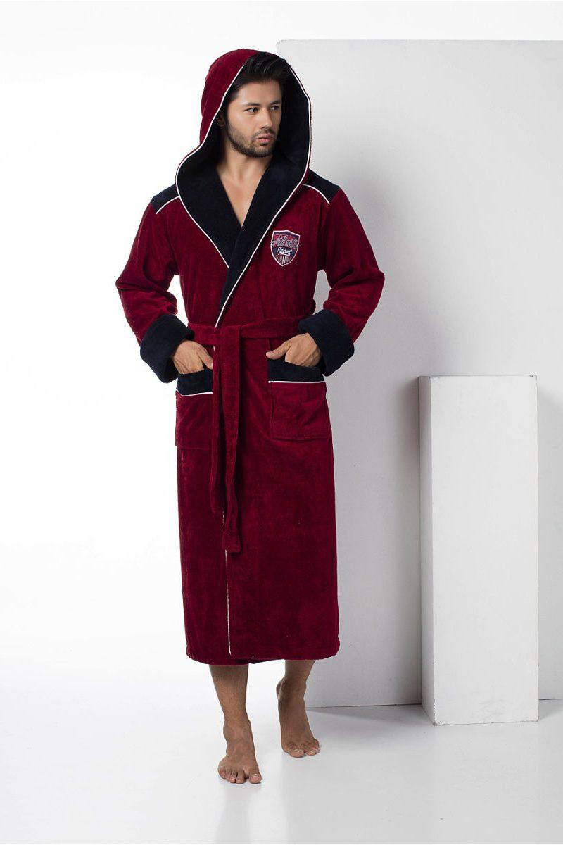 Спортивный мужской махровый халат Atletic Sport (бордовый) NS-2810