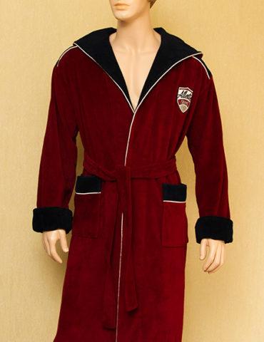 Спортивный мужской махровый халат Atletic Sport (бордовый)