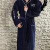 Спортивный мужской махровый халат с капюшоном NEW SPORT (темно-синий)