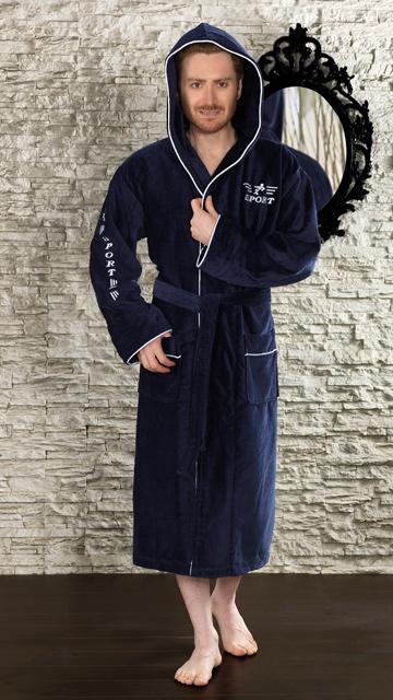 NEW SPORT (темно-синий) спортивный мужской махровый халат с капюшоном