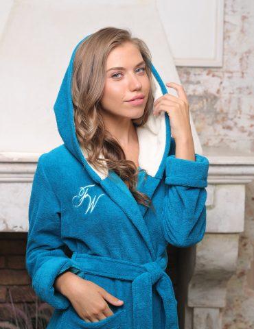 Violetta (бирюза) женский мягкий халат
