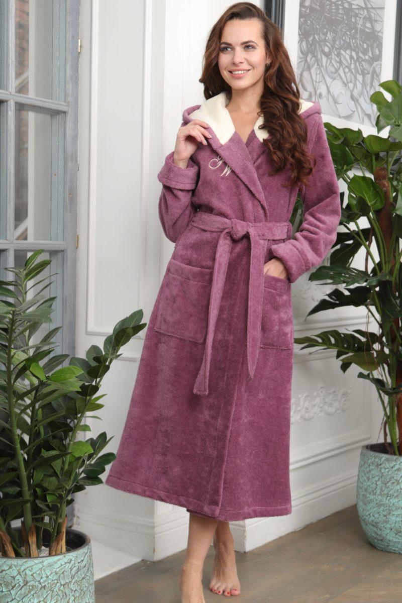 Violetta (сухая роза) женский мягкий халат