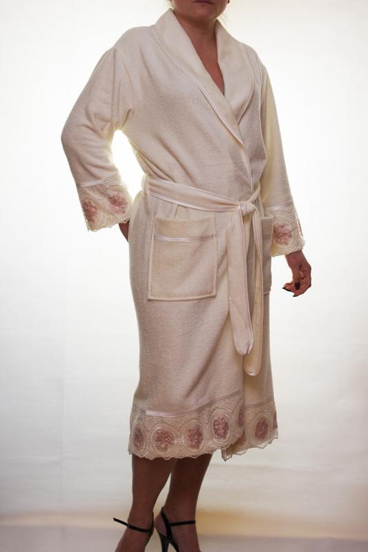 Женский бамбуковый халат Леди 1 - крем NUSA, Турция