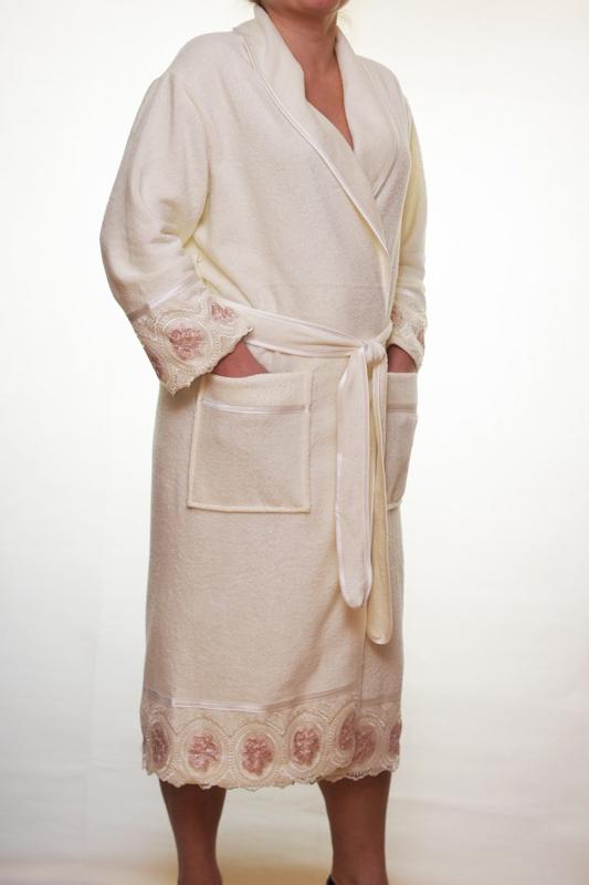 Женский бамбуковый халат Леди (без капюшона) - крем NUSA, Турция  NS-3680