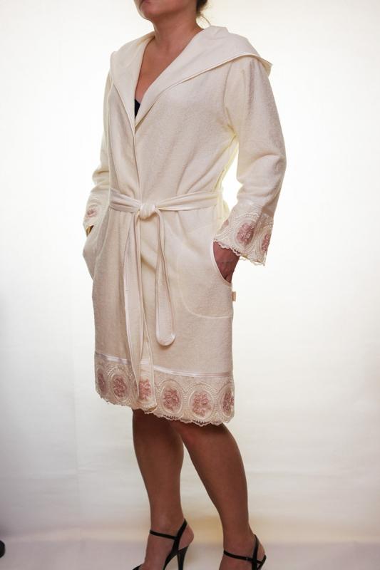 Женский бамбуковый халат с капюшоном Леди - крем NUSA, Турция  NS-3680