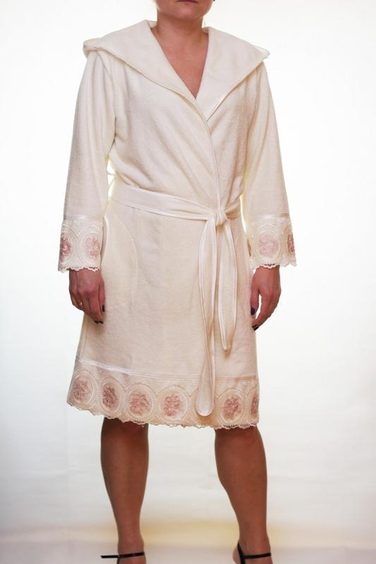 Женский бамбуковый халат с капюшоном Леди - крем NUSA, Турция