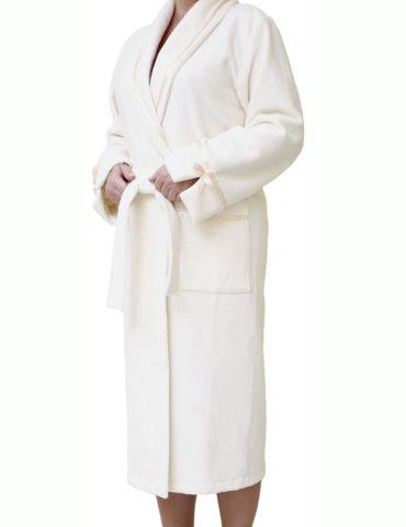 Женский махровый халат Амор (крем)