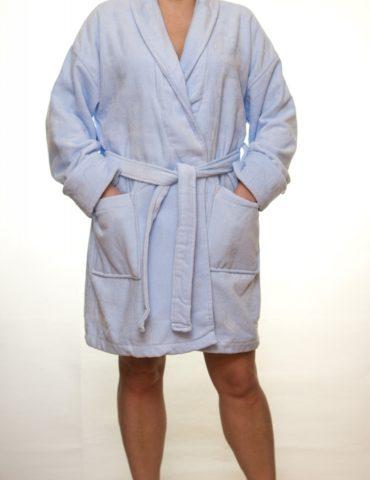 Женский махровый халат Mini (голубой)