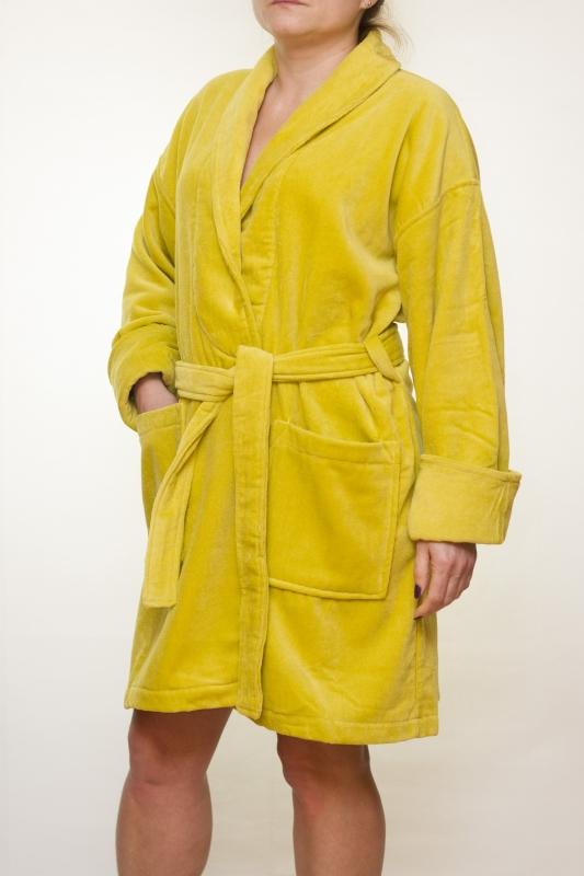 Женский махровый халат Mini (горчичный)