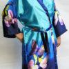 Женский шелковый халат Бабочки (синий)