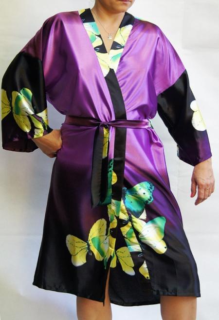 Женский шелковый халат Бабочки (сиреневый)