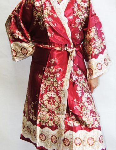 Женский шелковый халат Sharm (бордо)