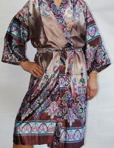 Женский шелковый халат Sharm (бронза)
