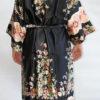 Женский шелковый халат Sharm (черный)